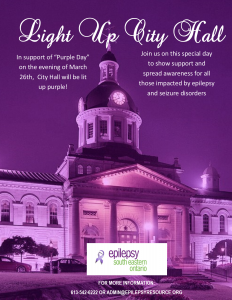 City Hall goes purple in support of Purple Day