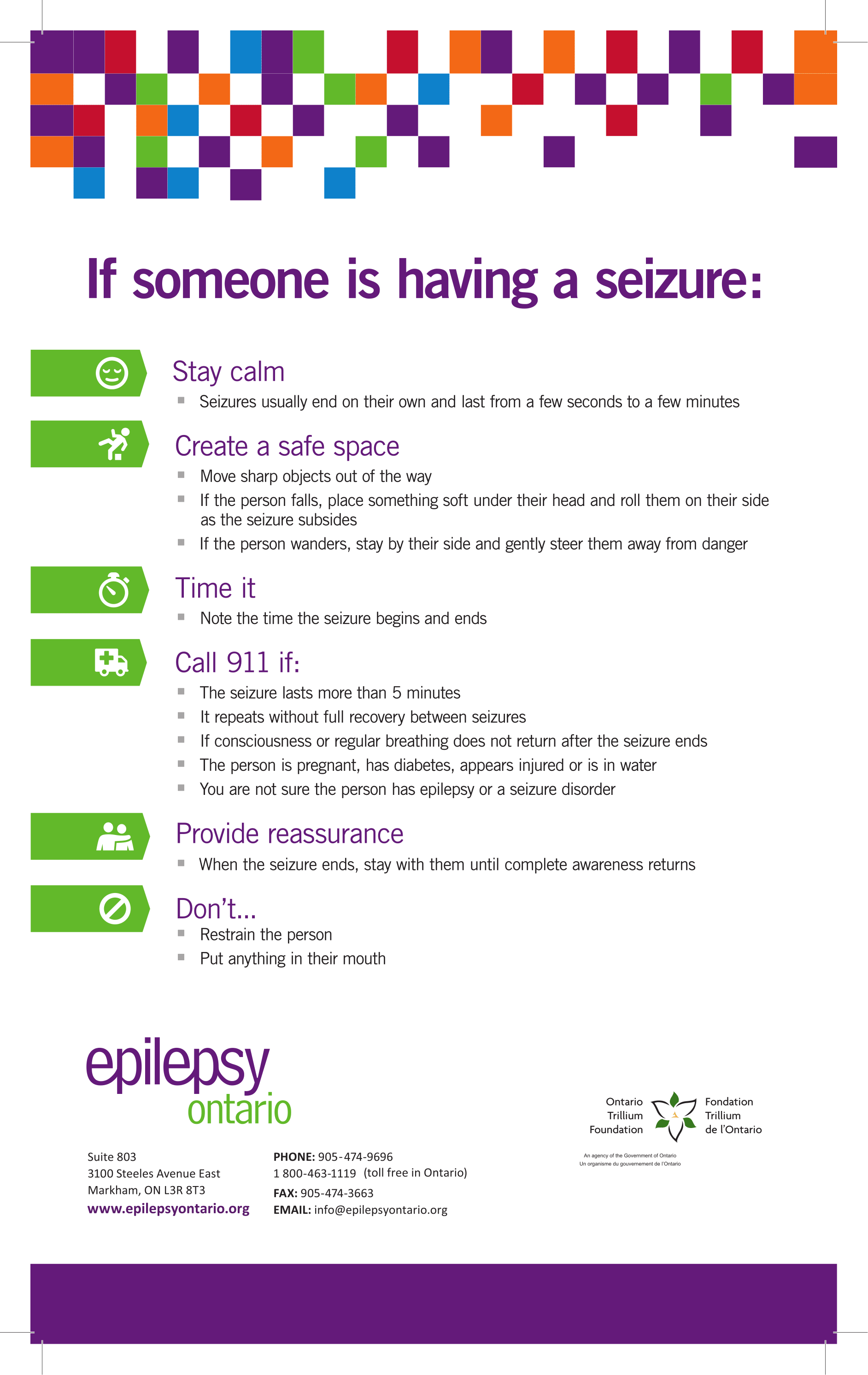 Poster describing epilepsy first aid.