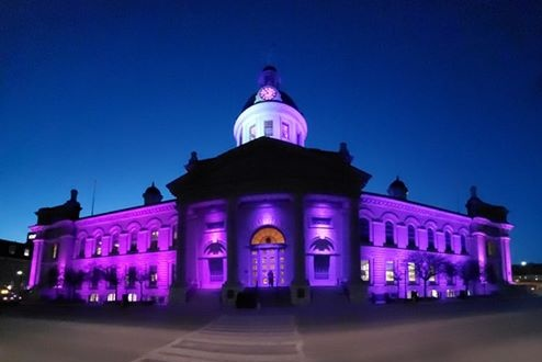 Kingston City Hall was illuminated in purple in support of Purple Day 2019