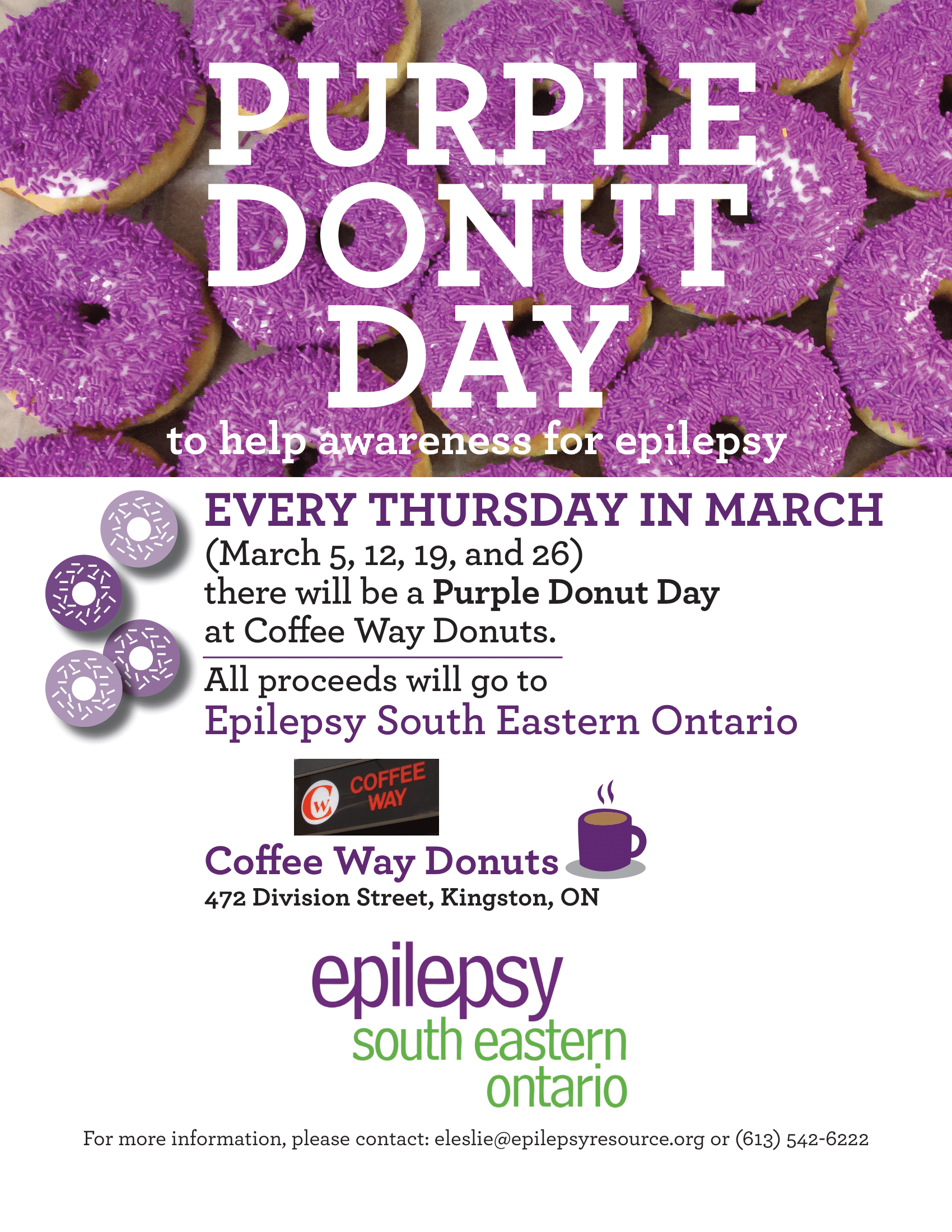 Every Thursday in March is Purple Donut Day at Coffee Way Donuts.