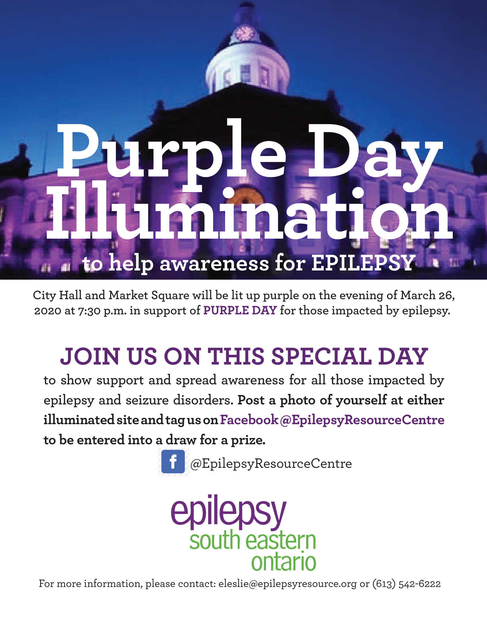Join us in watching City Hall and Marketplace light up purple for Purple Day.